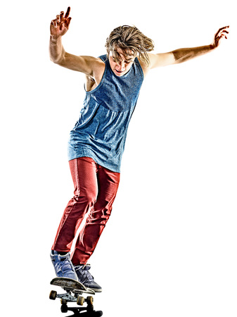 one teenager: one caucasian skateboarder young teenager man skateboarding isolated on white background