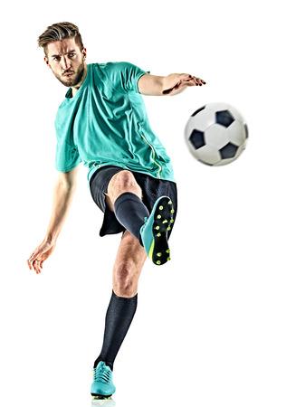 白い背景に分離された 1 つの白人サッカー プレーヤー男 写真素材 - 73377285
