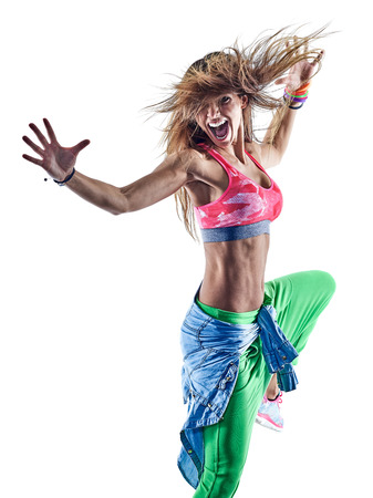 one caucasian woman zumba dancers dancing fitness exercising excercises in studio isolated on white background Stok Fotoğraf