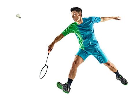 흰색 배경에 고립 된 하나의 아시아 배드민턴 선수 남자 스톡 콘텐츠