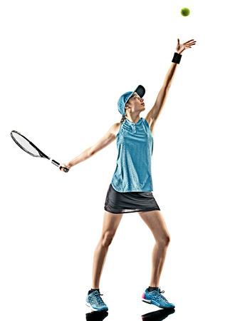 Een jonge Kaukasische tennisvrouw geïsoleerd in silhouet op een witte achtergrond