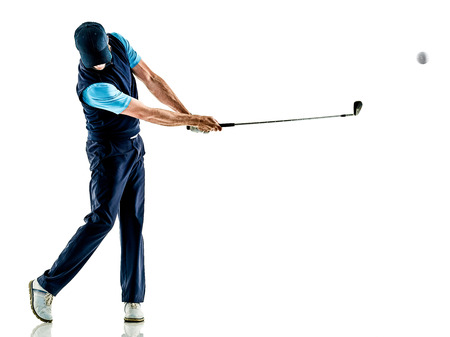one caucasian man golfer golfing in studio isolated on white background Banco de Imagens - 75782279