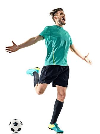 1 つ白人サッカー選手男幸せなお祝い白い背景に分離