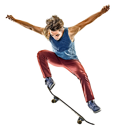 one caucasian skateboarder young teenager man skateboarding isolated on white background