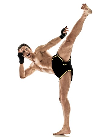 one caucasian Muay Thai kickboxing kickboxer thai boxing man isolated on white background Фото со стока