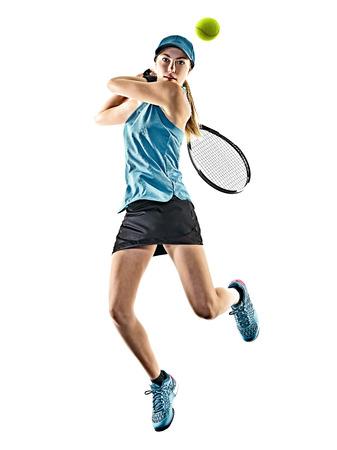 白い背景にシルエットで分離された 1 人の若い白人テニス女性 写真素材