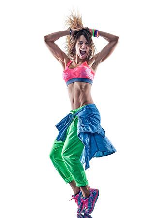 Een blanke vrouw dansers dansen fitness oefeningen oefeningen in studio geïsoleerd op een witte achtergrond Stockfoto - 76975911