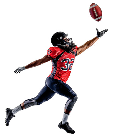 afroamerican: one american football player man isolated on white background Stock Photo