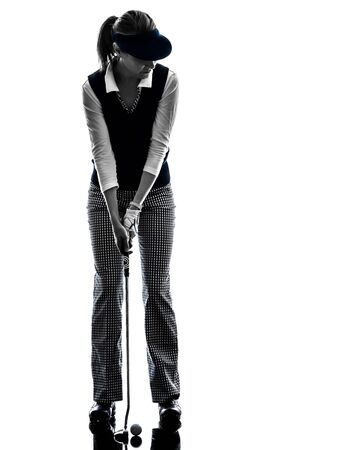 woman golfer golfing silhouette in white background Imagens - 77438389