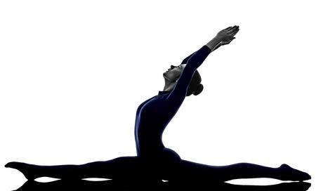vrouw uitoefenen Hanumanasana aap pose yoga silhouet schaduw witte achtergrond