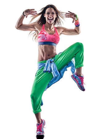 one caucasian woman zumba dancers dancing fitness exercising excercises in studio isolated on white background Imagens