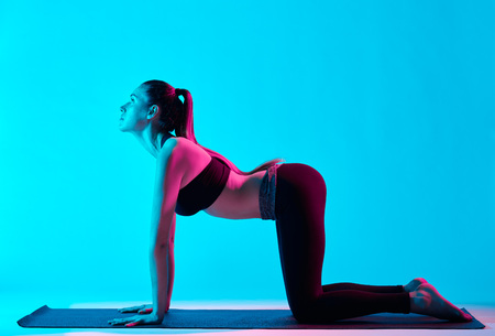 one caucasian woman exercising cat pose yoga exercices  in silhouette studio isolated on blue background photo