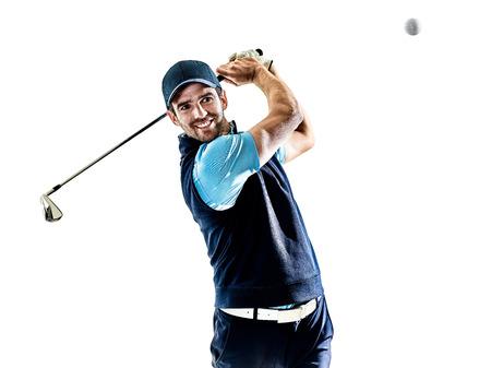 Een blanke man golfer golfing in studio geïsoleerd op een witte achtergrond Stockfoto - 78253411