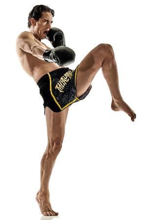 one caucasian Muay Thai kickboxing kickboxer thai boxing man isolated on white background Stock Photo