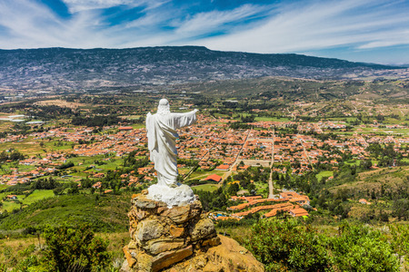 Mirador El Santo and his Jesus statue Villa de Leyva  skyline cityscape Boyaca in Colombia South America Banco de Imagens