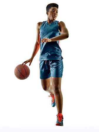 african american woman silhouette: one african Basketball players woman teenager girl isolated on white background with shadows Stock Photo