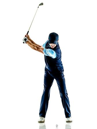 흰색 배경에 고립 된 스튜디오에서 골프 하나의 백인 남자 골퍼