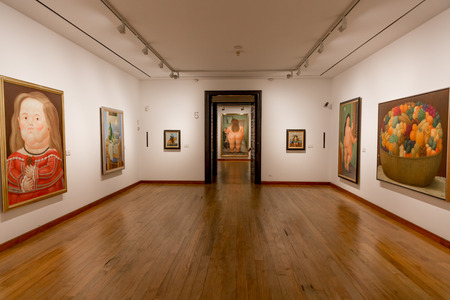 Bogota, Colombia  - February 4, 2017 : paintings of Museo Botero museum in La Candelaria aera Bogota capital city of Colombia South America