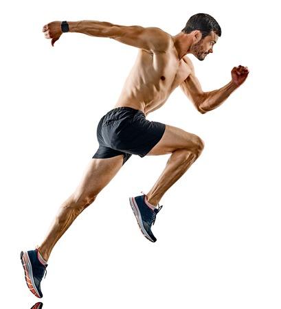 Een blanke man hardloper jogger hardlopen joggen geïsoleerd op een witte achtergrond met schaduwen Stockfoto