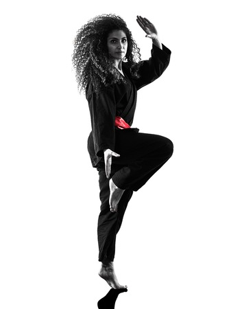 one caucasian woman practicing martial arts Kung Fu Pencak Silat in studio isolated on white background Stok Fotoğraf