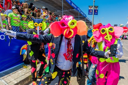 Barranquilla , Colombia  - February 25, 2017 : people participating at the parade of the carnival festival of  Barranquilla Atlantico Colombia Redakční