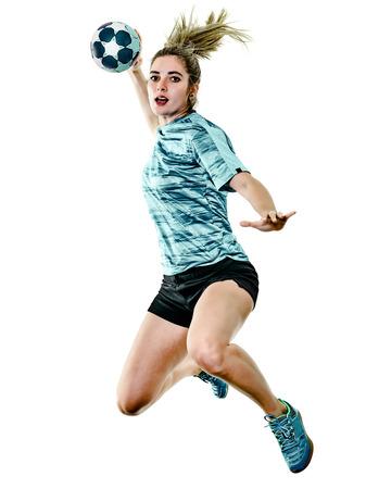 흰색 배경에 고립 된 핸드볼 플레이어를 재생 한 백인 어린 십 대 소녀 여자 스톡 콘텐츠