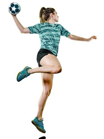 een blanke jonge tiener meisje vrouw spelen handbal speler geïsoleerd op een witte achtergrond
