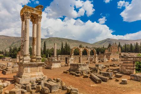 Beeka 계곡에있는 Umayyad Aanjar (Anjar)의 유적 레바논 중동 스톡 콘텐츠