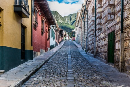 colorful Streets  in La Candelaria aera Bogota capital city of Colombia South America 免版税图像