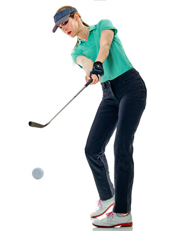 one caucasian woman woman golfer golfing in studio isolated on white background Reklamní fotografie - 80821125