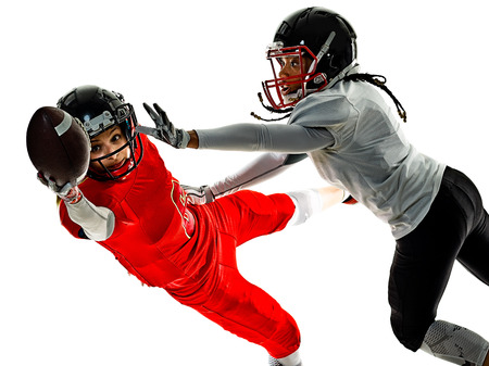 two women teenager girls american football players  isolated on white background silhouette with shadows Stock fotó