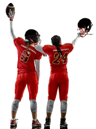 cheer full: two women teenager girls american football players  isolated on white background silhouette with shadows Stock Photo