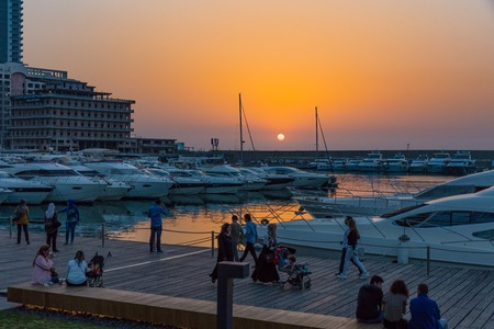 Zaitunay Bay marina in Beirut capital city of Lebanon Middle east Foto de archivo