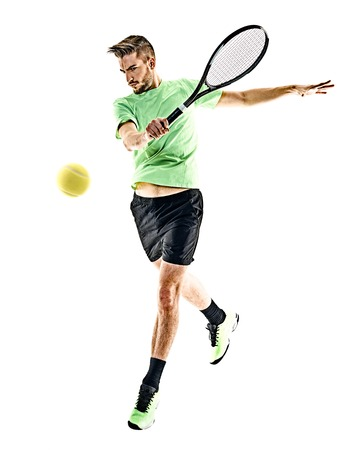 one caucasian  man playing tennis player isolated on white background photo