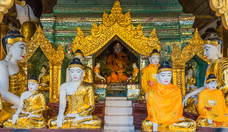Buddha statues of the Shwedagon Pagoda at Yangon (Rangoon) in Myanmar (Burma) Stock Photo