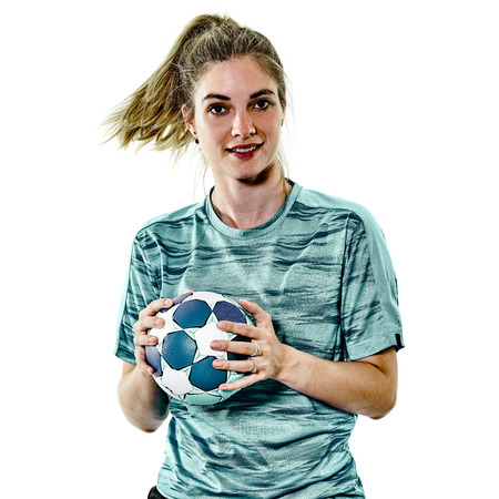 one caucasian young teenager girl woman playing Handball player isolated on white background