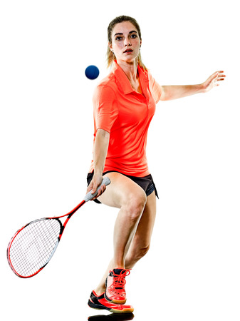 one caucasian young teenager girl woman playing Squash player isolated on white background 스톡 콘텐츠