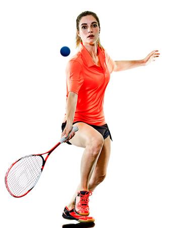 Een blanke jonge tiener meisje vrouw spelen Squash-speler geïsoleerd op een witte achtergrond Stockfoto - 81543746