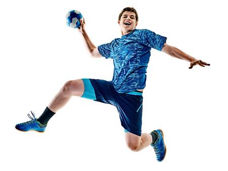 Een blanke handbalspeler tienerjongen in studio geïsoleerd op een witte achtergrond Stockfoto - 81549462