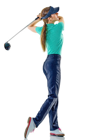 one caucasian woman woman golfer golfing in studio isolated on white background photo