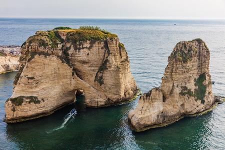 Rouche Rocks  in Beirut capital city of Lebanon Middle east Banco de Imagens