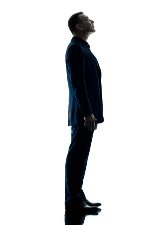 one caucasian business man standing looking up silhouette isolated on white background photo