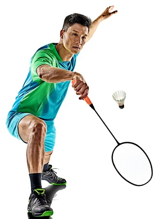 one asian badminton player man isolated on white background Stock Photo