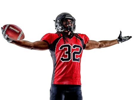 een american football player man op een witte achtergrond