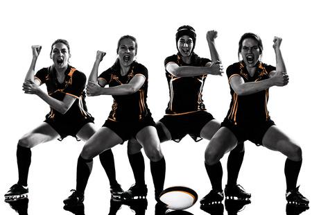 Rugby, femme, joueurs, équipe, célébration, silhouette, isolé, blanc, backround