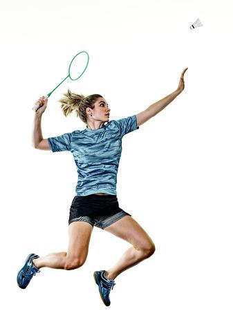 Een blanke jonge tiener meisje vrouw spelen Badminton speler geïsoleerd op een witte achtergrond Stockfoto - 85507059