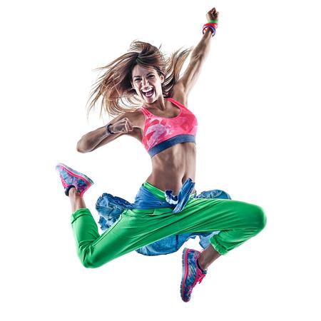 한 백인 여자 카디오 댄서 피트니스 흰색 배경에 고립 된 스튜디오에서 운동을 춤