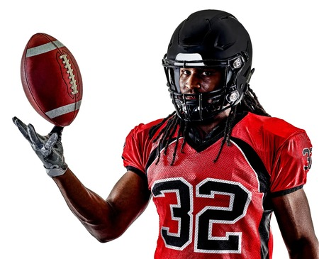 one american football player man isolated on white background Фото со стока