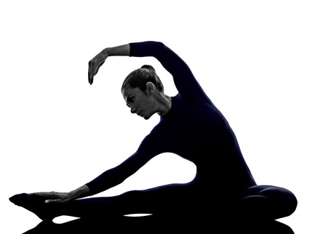 janu: woman exercising Parivritta Janu Sirsasana Revolved Head of the Knee pose yoga silhouette shadow white background