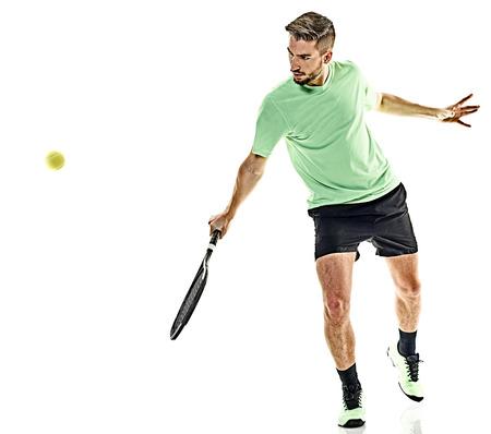 一人の白人男は白い背景に分離されたテニス プレーヤーを再生